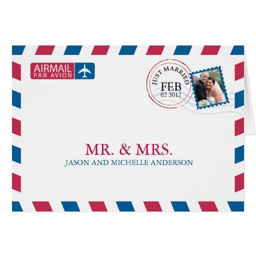 Luftpost-Hochzeit danken Ihnen Grußkarten