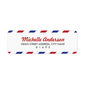 Luftpost-Rücksendeadressen-Aufkleber