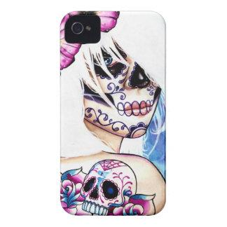 Lügen tätowierten Tag des toten Mädchen-Porträts iPhone 4 Case-Mate Hüllen