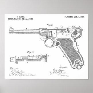 Luger-Gewehr-Patent-Kunst 1904, die Druck zeichnet Poster