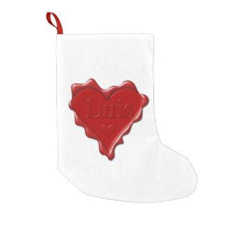 Luis. Rotes Herzwachs-Siegel mit NamensLuis Kleiner Weihnachtsstrumpf