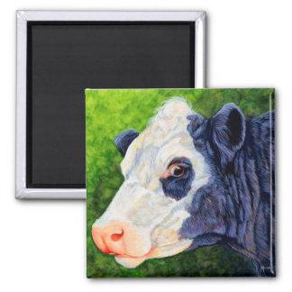Lulu - schwarze Baldie Kuh Quadratischer Magnet