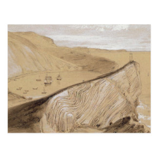 Lulworth Bucht (w/c, Gouache und Graphit auf Beige Postkarte