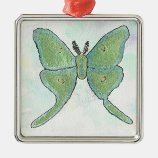 Luna-Motten-erstklassige quadratische Verzierung Quadratisches Silberfarbenes Ornament