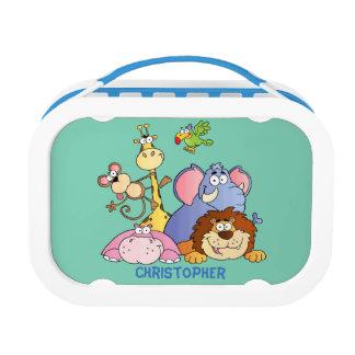 Lunchbox-Blau-Dschungel Tiere Brotdose