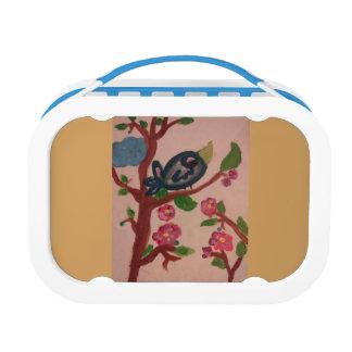 Lunchbox mit Vogel auf einem Niederlassungs-Deko