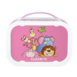 Lunchbox-Rosa-Dschungel Tiere Brotdose