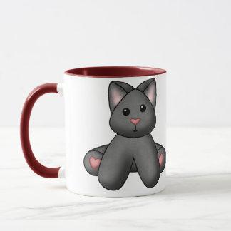 Luras angefüllte schwarze Miezekatze Tasse
