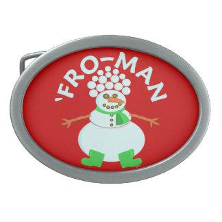 Lustig 'für Schneemann-Weihnachtswortspiel Ovale Gürtelschnalle