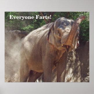 Lustig jeder Furzen! Elefant Poster