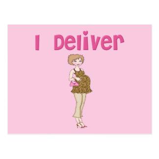 Lustig liefere ich Schwangerschaft Postkarte