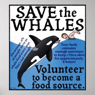 Lustig retten Sie den Walen SatireSpoof Poster