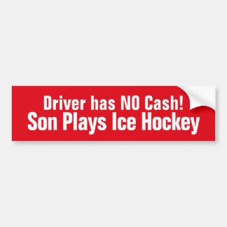 Lustig, spielt Sohn Eis-Hockey-Autoaufkleber Autoaufkleber