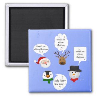 Lustig wünschen wir Ihnen frohen Weihnachten - Quadratischer Magnet