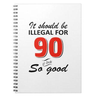 Lustige 90. jährige Geburtstagsentwürfe Notizblock