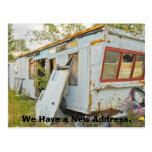 Lustige Adressenänderung Karte: Anhänger-Zuhause Postkarte
