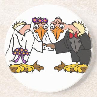 Lustige alte Bussard-Hochzeits-Cartoon-Kunst Getränkeuntersetzer