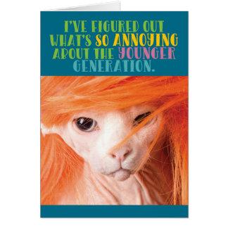 Lustige alte Katzen-ärgerliche jüngere Generation Karte