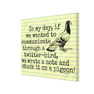 Lustige altes Alters-Twitter-Vogel-Taube Leinwanddruck