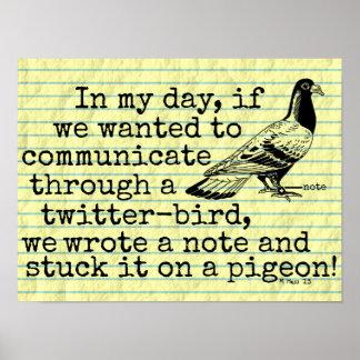 Lustige altes Alters-Twitter-Vogel-Taube Poster