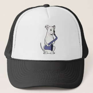 Lustige amerikanische Bulldogge, die Saxophon Truckerkappe