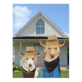 Lustige amerikanische gotische Hunde/Labradore Postkarte