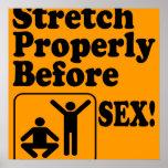 Lustige Ausdehnung richtig vor Sex-Sicherheits-Pla Poster