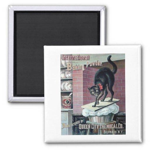 Lustige Backpulver-Plakatanzeige der schwarzen Kat Magnets