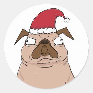 Lustige Bah Humpug Sankt Mops-Weihnachtsaufkleber Runder Aufkleber