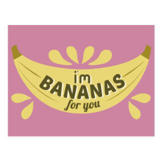 Lustige Bananenillustration bin ich Bananen für Postkarte