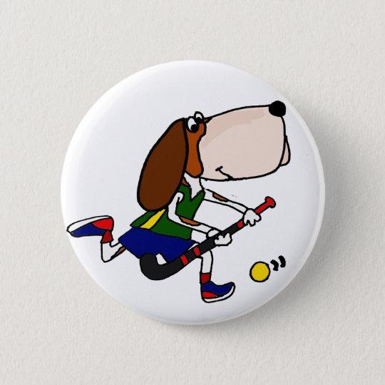 Lustige Basset Hound-Spielfeld-Hockey-Kunst Runder Button 5,1 Cm