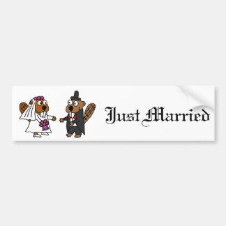 Lustige Biber-Braut-und Bräutigam-Hochzeit Autoaufkleber