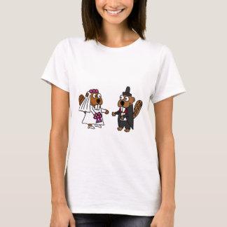 Lustige Biber-Braut-und Bräutigam-Hochzeit T-Shirt