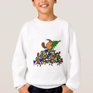 Lustige Biber-Weihnachtsverdammung mit Lichtern Sweatshirt