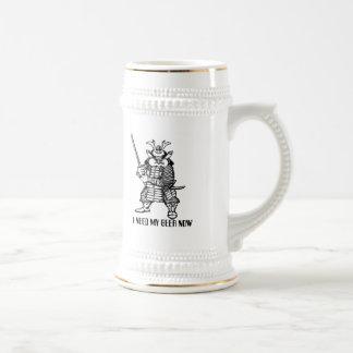 Lustige Bier-Tasse des Samurais Bierkrug