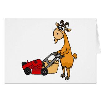 Lustige Billy-Ziege, die Rasenmäher-Cartoon drückt Karte