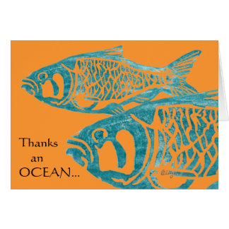 Lustige blaue Fische danken Ihnen Karten/Notecards Karte