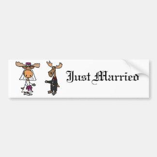 Lustige Braut-und Bräutigam-Elch-Hochzeit Autoaufkleber