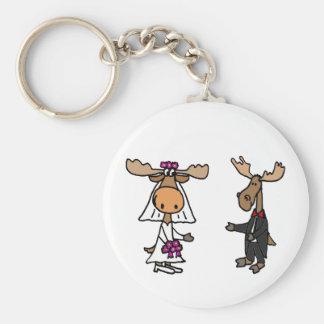 Lustige Braut-und Bräutigam-Elch-Hochzeit Schlüsselanhänger
