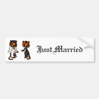 Lustige Braut-und Bräutigam-Tiger-Hochzeits-Kunst Autoaufkleber