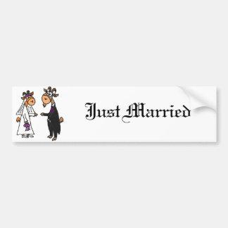 Lustige Braut-und Bräutigam-Ziegen-Hochzeit Autoaufkleber