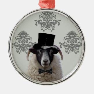 Lustige Bräutigamschafe im Zylinder Silbernes Ornament