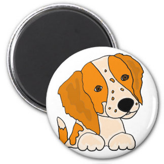 Lustige Bretagnespaniel-Hündchen-Kunst Runder Magnet 5,7 Cm