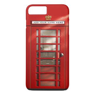Lustige britische rote Telefonzelle personalisiert iPhone 8 Plus/7 Plus Hülle