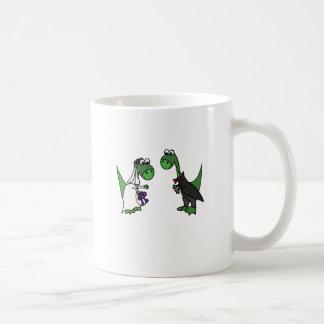 Lustige Brontosaurus-Hochzeits-Kunst Kaffeetasse