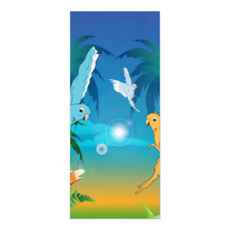 Lustige budgies 10,2 x 23,5 cm einladungskarte