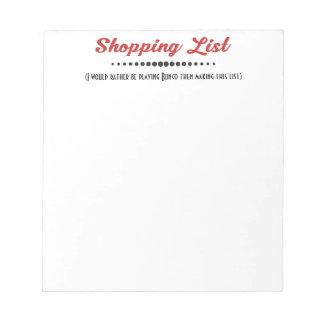 Lustige Bunco Würfel-Spiel-Einkaufsliste Notizblock