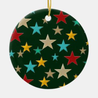 Lustige, bunte Sterne Keramik Ornament