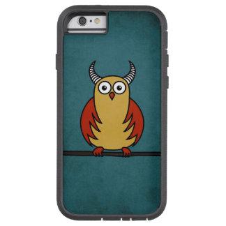 Lustige Cartoon-Eule mit den Hörnern schützend Tough Xtreme iPhone 6 Hülle