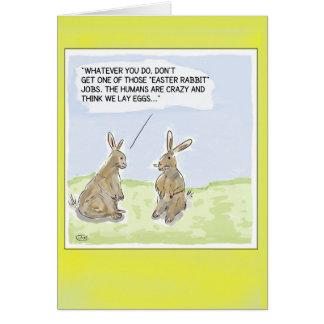 Lustige Cartoon-Ostern-Kaninchen-Karte Karte